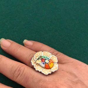 🔴 Murano Italian glass Silver Ring Rare
